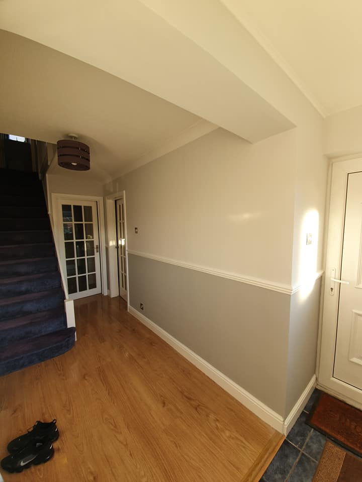 A redecorated hallway and stairs