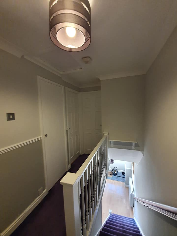 A redecorated landing and stairs