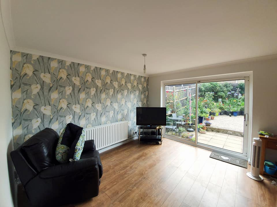 Stunning wallpapered feature wall