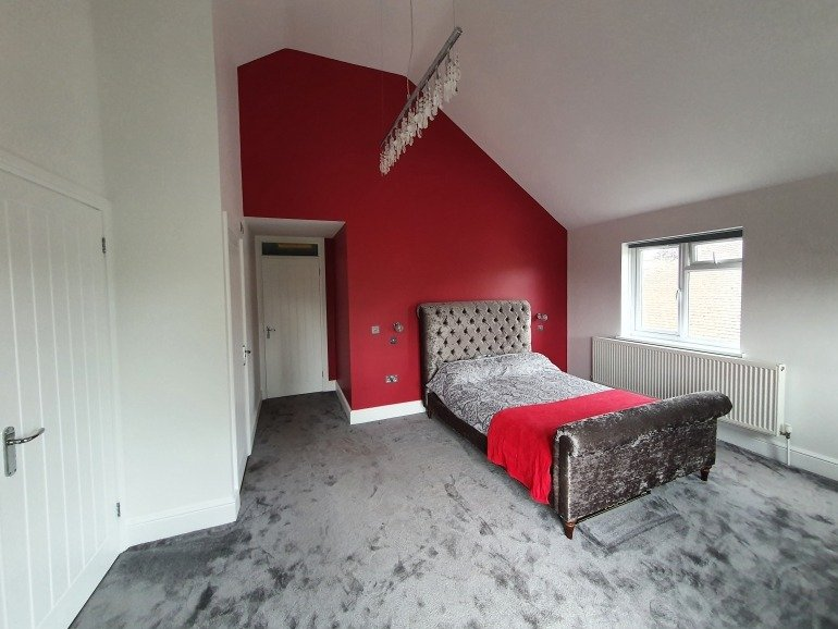 Bold red bedroom